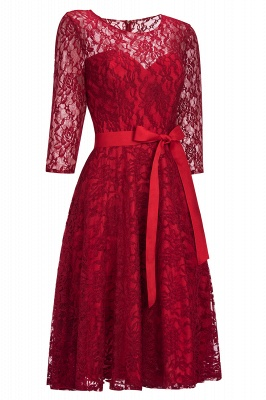 Vintage A-line Burgundy Lace Dresses with Sleeves_1