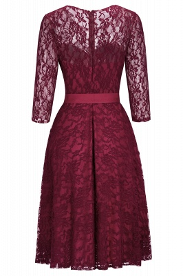 Vintage A-line Burgundy Lace Dresses with Sleeves_4