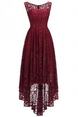 Beautiful Sleeveless A-line Crew Hi-lo Lace Dresses_1