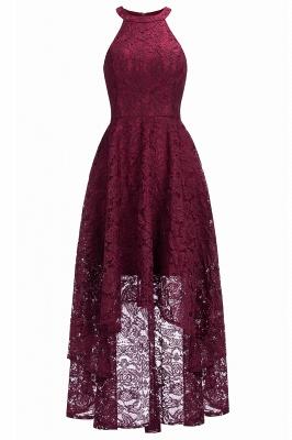 Halter Sleeveless Sheath Asymmetrical Burgundy Lace Dresses_3