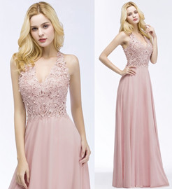 PAM   A-line V-neck Sleeveless Long Appliques Chiffon Bridesmaid Dresses_13