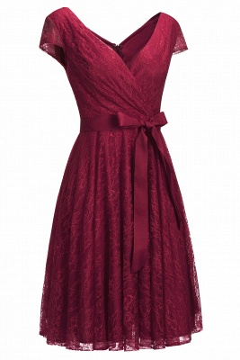 A-line Shoet Sleeves V-neck Lace Dresses with Bow Sash_2