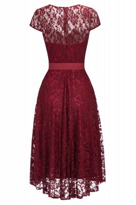 Burgundy Lace Short Sleeves A-line Dresses with Bow_2