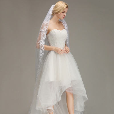One Layer Wedding Veil with Comb Lace Edge Appliqued Bridal Veil?_5