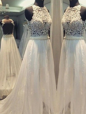 Sweep Train Elegant Sexy Sleeveless Bridal Gowns | Chiffon A-Line Wedding Dresses Cheap Online_1