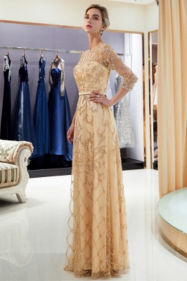 A-line Illusion Neckline Long Beading Evening Gowns with Sleeves_1