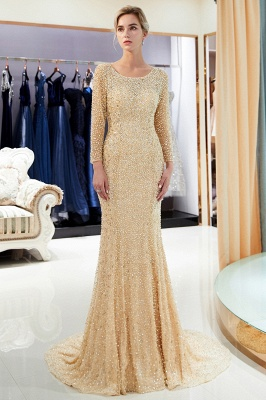 Mermaid Floor Length Long Sleeves Sequins Formal Party Dresses_2