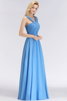 Elegant A-Line Chiffon Straps Sleeveless Ruffles Floor-Length Bridesmaid Dresses_4