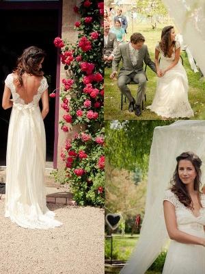 V-neck Sexy Sweep Train Sleeveless Cheap Tulle Beading Wedding Dresses_1