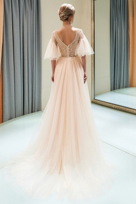 Floor Length A-line V-neck Beading Tulle Evening Gowns with Sleeves_4