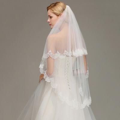 Elegant Two Layers Lace Edge Wedding Veil Appliques Long Bridal Veil_5