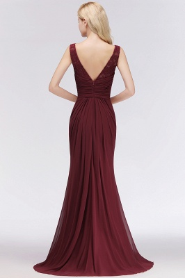 Elegant A-Line Burgundy Chiffon Lace Scoop Sleeveless Ruffles Floor-Length Bridesmaid Dresses_2