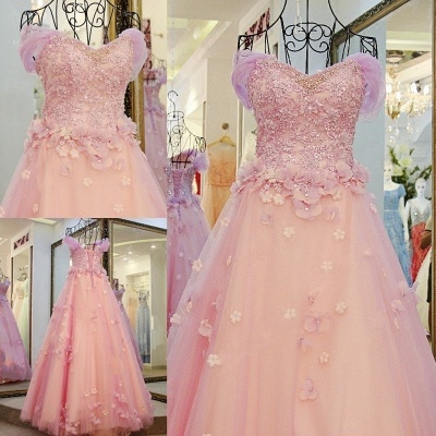 Ball Gown Tulle Off-The-Shoulder Floor-Length Applique Prom Dresses_3