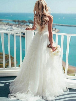 Sweep Train Ball Gown Wedding Dresses Cheap | Sleeveless Tulle Sweetheart Bridal Gowns Sexy_3