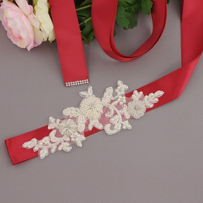 Beautiful Satin Flower Wedding Sash with Pearls_9