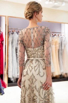 A-line Illusion Neckline Long Beading Evening Gowns with Sleeves_8