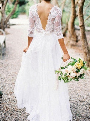 Lace Chiffon V-neck Floor Length Bridal Gowns Cheap   Half Sleeve Appliques Sexy Wedding Dresses_3