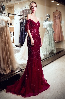 Off-the-shoulder V-neck Mermaid Floor Length Sequins Evening Dresses_7