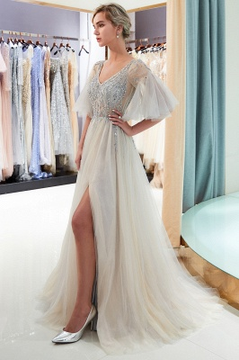 Floor Length A-line V-neck Beading Tulle Evening Gowns with Sleeves_10