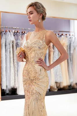 Glamorous Beading Mermaid Sleeveless Long Evening Dresses_12