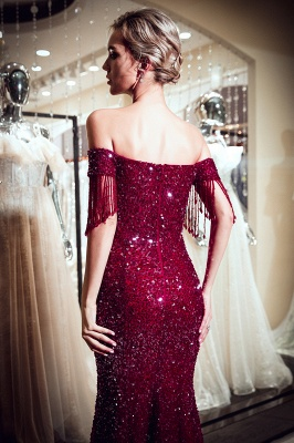 Off-the-shoulder V-neck Mermaid Floor Length Sequins Evening Dresses_8