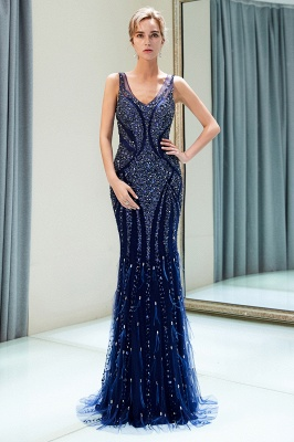 Mermaid Sleeveless V-neck Sequins Pattern Long Evening Gowns_4