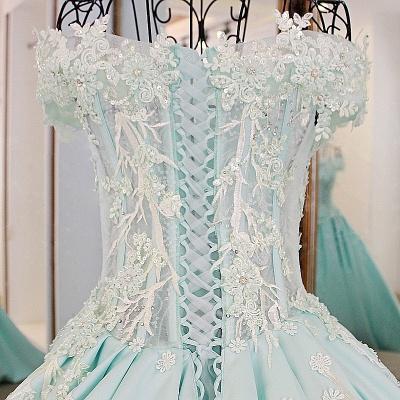 Sequins Off-The-Shoulder Applique Ball Gown Chapel Train Evening Dresses_4