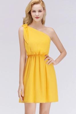 Elegant A-Line Chiffon One-Shoulder Sleeveless Ruffles Short Bridesmaid Dresses with Bow_5