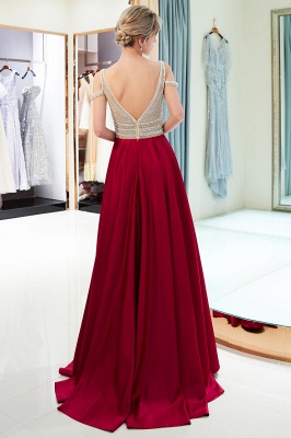 Burgundy A-line V-neck Sleeveless Crystal Beading Evening Dresses_3