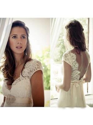 V-neck Sexy Sweep Train Sleeveless Cheap Tulle Beading Wedding Dresses_4