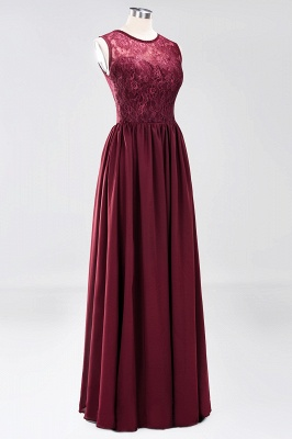 A-line Chiffon Lace Jewel Sleeveless Ruffles Floor-Length Bridesmaid Dresses with Appliques_9