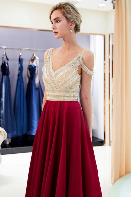 Burgundy A-line V-neck Sleeveless Crystal Beading Evening Dresses_4