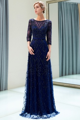 A-line Illusion Neckline Long Beading Evening Gowns with Sleeves_15