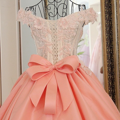 Lace Off-The-Shoulder Bow Ball Gown Sweep Train Prom Dresses_4