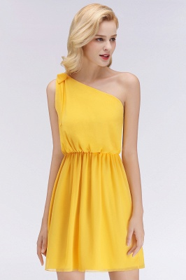 Elegant A-Line Chiffon One-Shoulder Sleeveless Ruffles Short Bridesmaid Dresses with Bow_3
