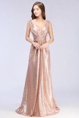 Elegant A-line Sequined V-Neck Sleeveless Floor-Length Bridesmaid Dresses_1