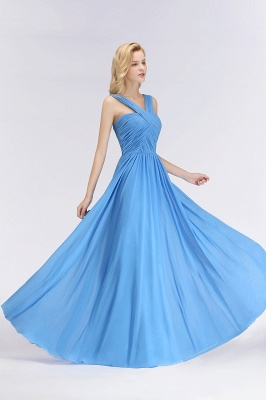 Elegant A-Line Chiffon Straps Sleeveless Ruffles Floor-Length Bridesmaid Dresses_5