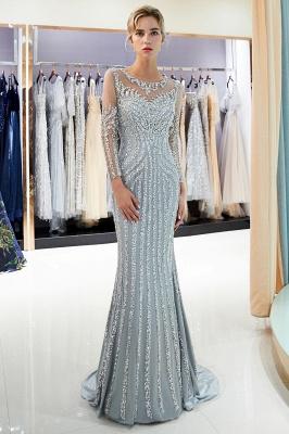 Mermaid Long Sleeves Sequined Pattern Evening Dresses_7
