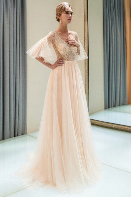 Floor Length A-line V-neck Beading Tulle Evening Gowns with Sleeves_5