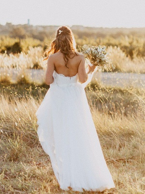 Floor Length Tulle A-Line Bridal Gowns Cheap | Sexy Ruched Sweetheart Sleeveless Wedding Dresses_5