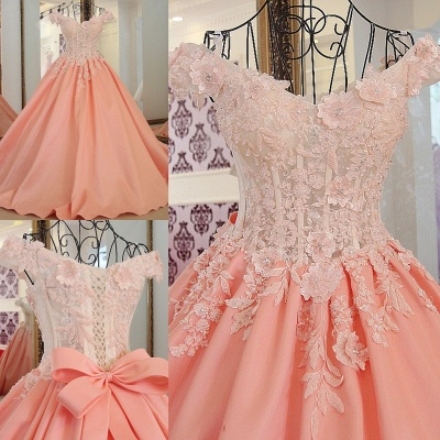 Lace Off-The-Shoulder Bow Ball Gown Sweep Train Prom Dresses_6