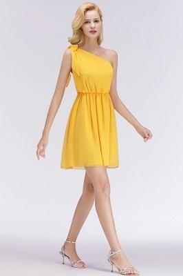 Elegant A-Line Chiffon One-Shoulder Sleeveless Ruffles Short Bridesmaid Dresses with Bow_4