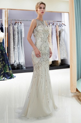 Glamorous Beading Mermaid Sleeveless Long Evening Dresses_11
