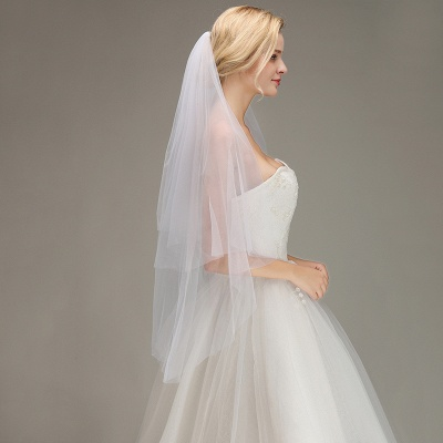 Cut Edge Two Layer Wedding Veil with Comb Simple Soft Tulle Bridal Veil_5