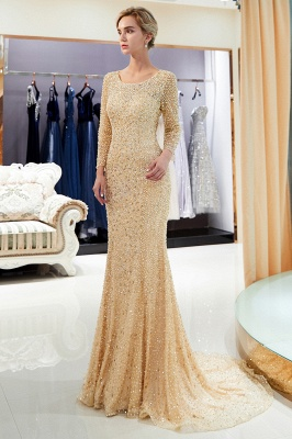Mermaid Floor Length Long Sleeves Sequins Formal Party Dresses_11