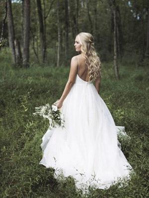 Spaghetti Straps Lace Organza Sexy Bridal Gowns | Cheap V-neck Sleeveless Court Train Wedding Dresses_1