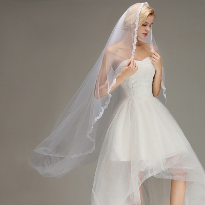 One Layer Cathedral Wedding Veil with Comb Tulle Lace Edge Bridal Veil_5