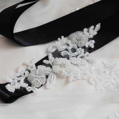 Beautiful Satin Flower Wedding Sash with Pearls_6