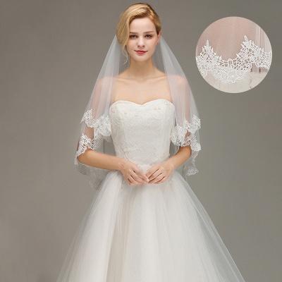 Elegant Two Layers Lace Edge Wedding Veil Appliques Long Bridal Veil_3