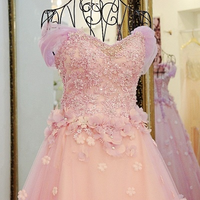 Ball Gown Tulle Off-The-Shoulder Floor-Length Applique Prom Dresses_4